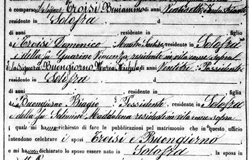 Italian civil record of author's grandparents' 1877 marriage in Solofra, Avellino. Feet on the Ground NYC can find, read and translate these documents for your Italian ancestors.